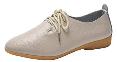 c3691b63529d WUIWUIYU Women s Leather Lace-Up Oxfords Shoes Casual Comfort Walking  Driving Flats