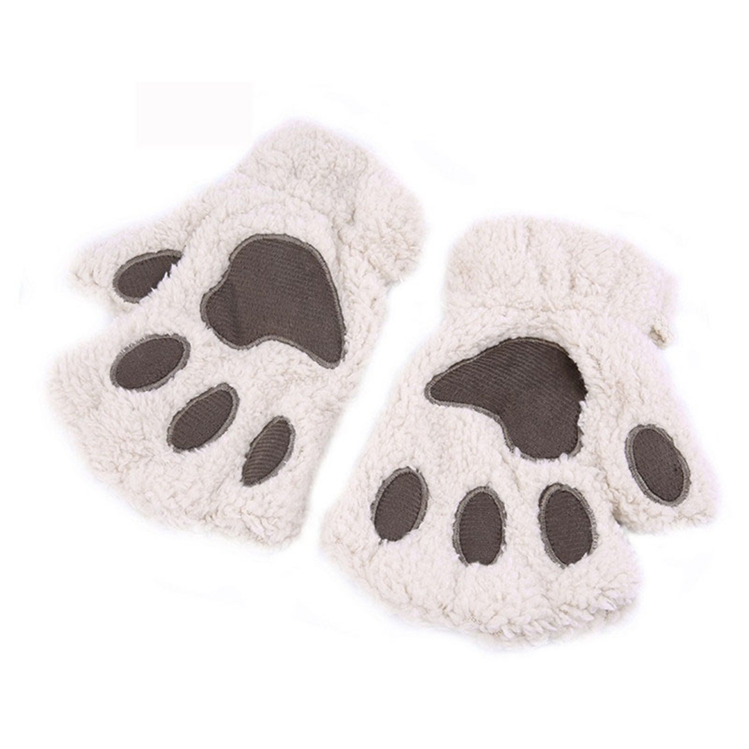 Better Annie Winter Keep Warm Cute Women Gloves Fluffy Bear Plush Paw Glove Girl Novelty Soft Half Covered Mittens Gloves beige