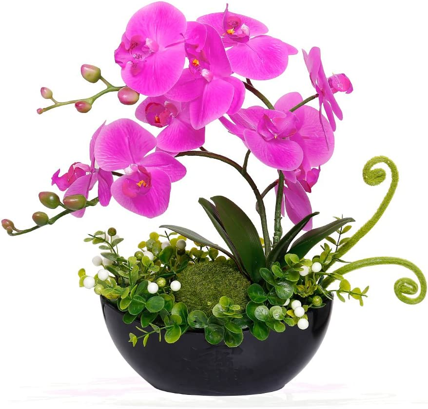 YILIYAJIA Artificial Orchid Bonsai Fake Flowers with Vase Arrangement 5 Head PU Phalaenopsis Bonsai for Home Table Decor(Black Vase)
