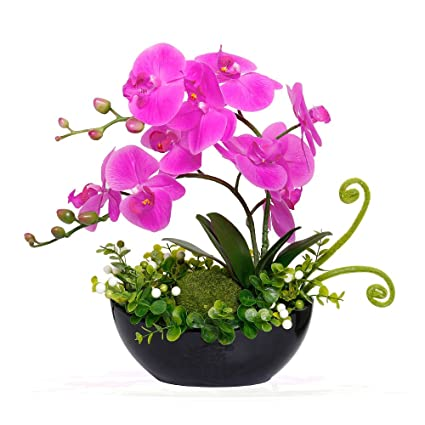 225 & YILIYAJIA Artificial Orchid Bonsai Fake Flowers with Vase Arrangement 5 Head PU Phalaenopsis Bonsai for Home Table Decor(Black Vase)