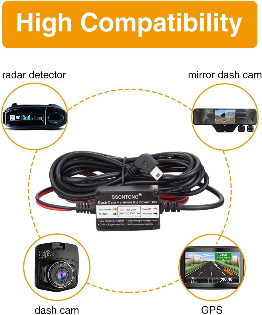 Ssontong OBD to Mini USB OBDII Adapter Hardwire Charger Cable 24 Hours Surveillance and Acc Two Mode OBD2 OBD Power Cable for Dash Camera