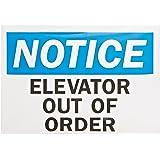 "SmartSign Magnetic OSHA Safety Sign, Legend ""Notice: Elevator Out of Order"", 5"" high x 7"" wide, Black/Blue on White"