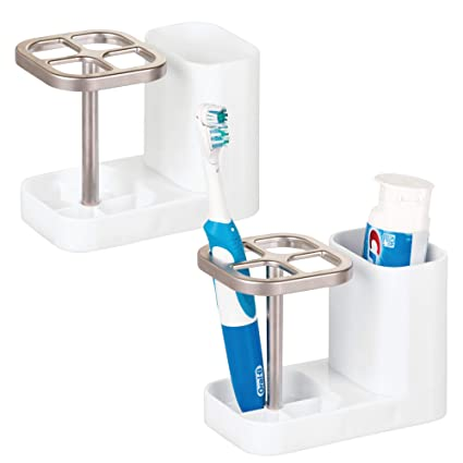 mDesign Bathroom Vanity Countertop Toothpaste & Toothbrush Holder Stand with Cup/Dental Center, Holds Electric Toothbrushes -2 Pack - White/Satin