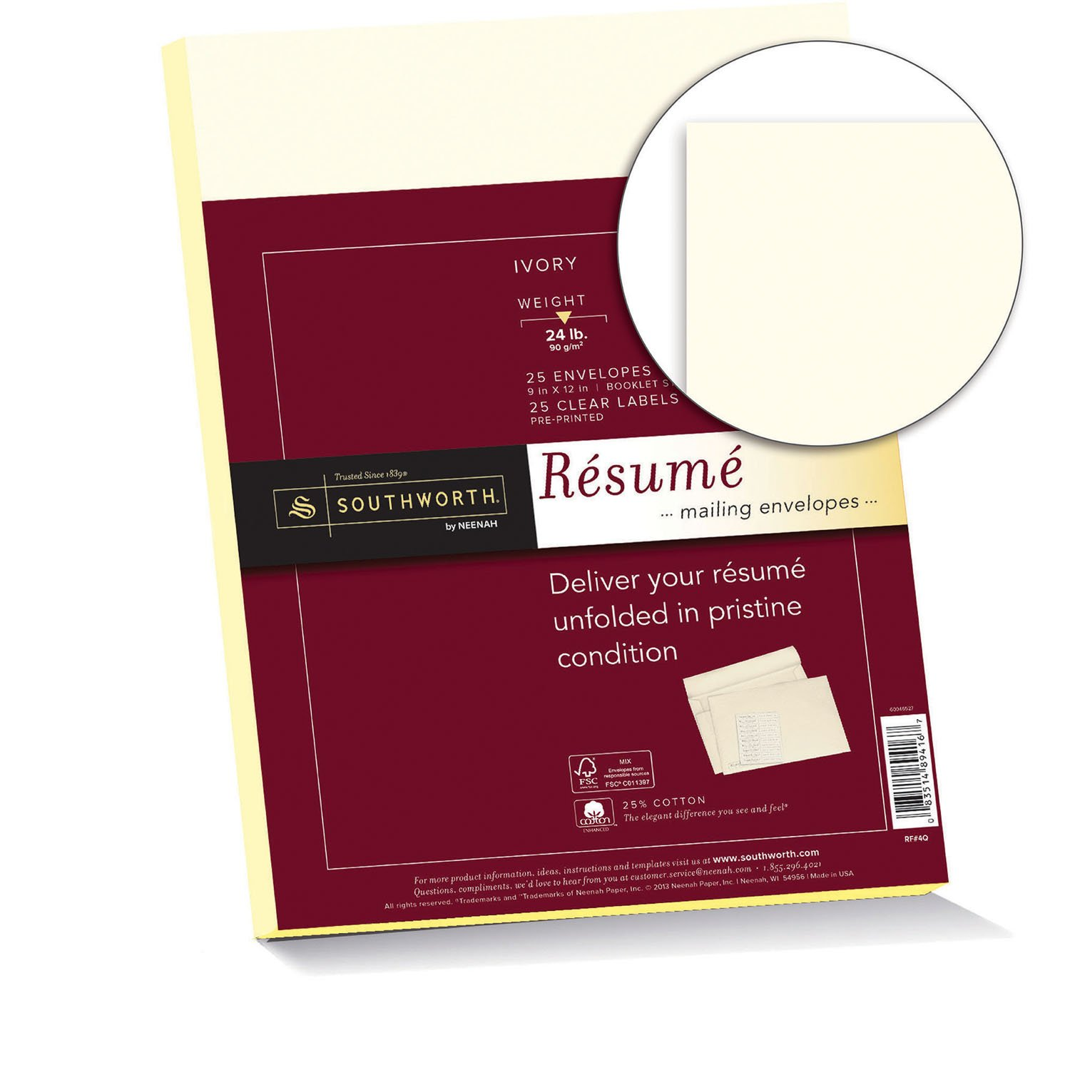 amazoncom southworth resume envelopes 9x12 inches and labels 25 cotton 24 lb ivory 25 count envelopes and 25 count labels rf4q southworth
