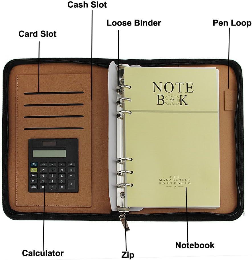 YWHY Cuaderno A5 Multifunci/ón Con Calculadora De Hojas Sueltas Port/átil De La Oficina De Negocios Con Cremallera Port/átil B