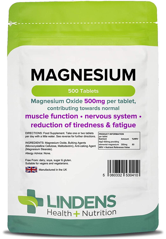 Lindens Magnesio 500 mg en comprimidos | 100 Paquete | Contribuye al metabolismo de producción de energía normal, al funcionamiento muscular, ...