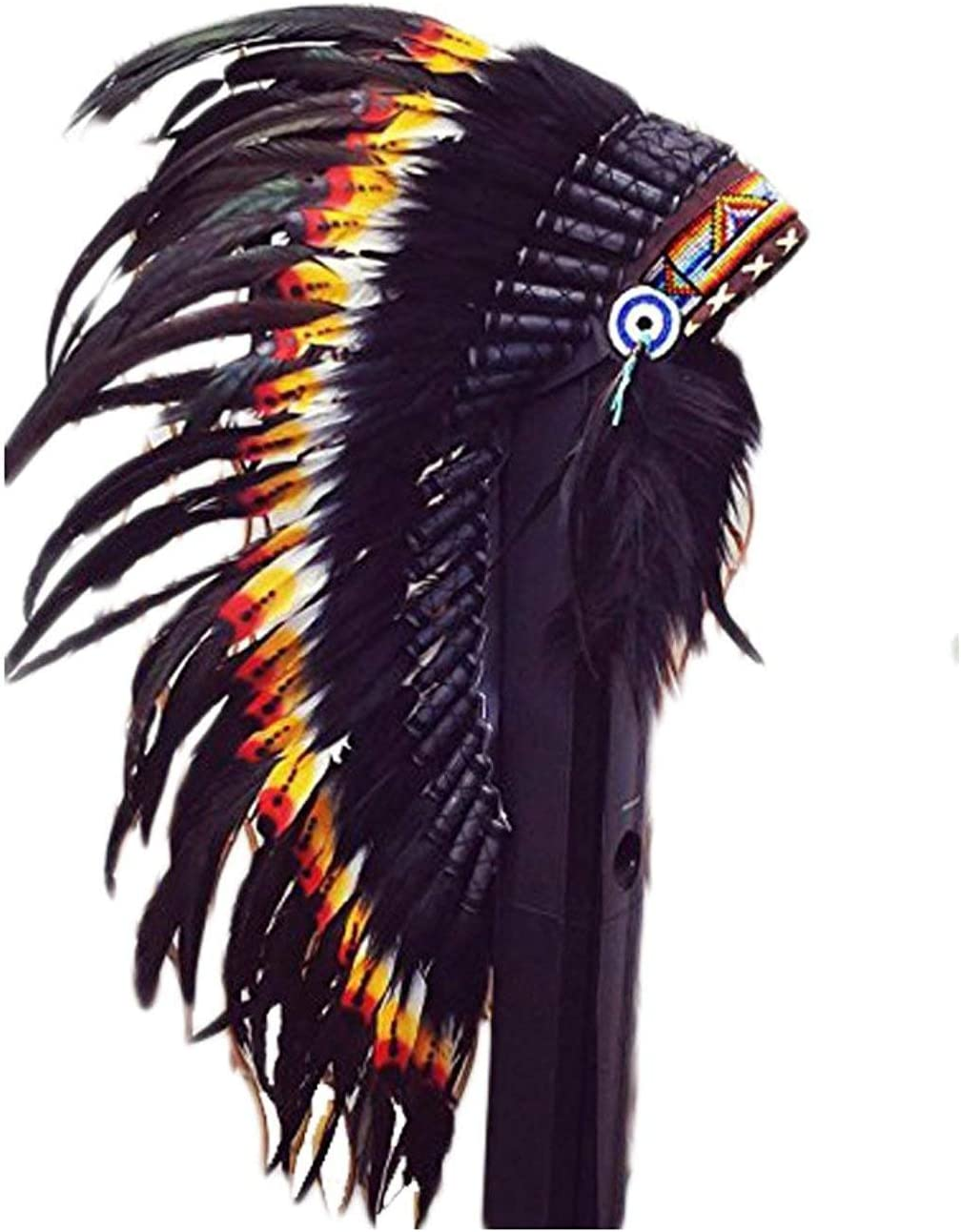 //War Bonnet 36 inch Long KARMABCN Native American Inspired Medium Feather Headdress
