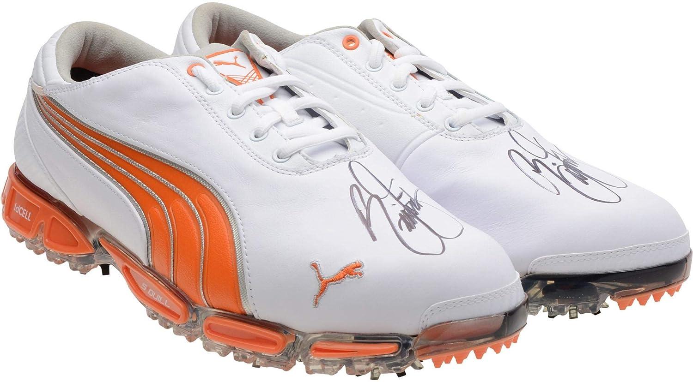 Rickie Fowler Autographed Orange Puma Cleats - BAS - Fanatics Authentic Certified - Autographed Golf Shoes