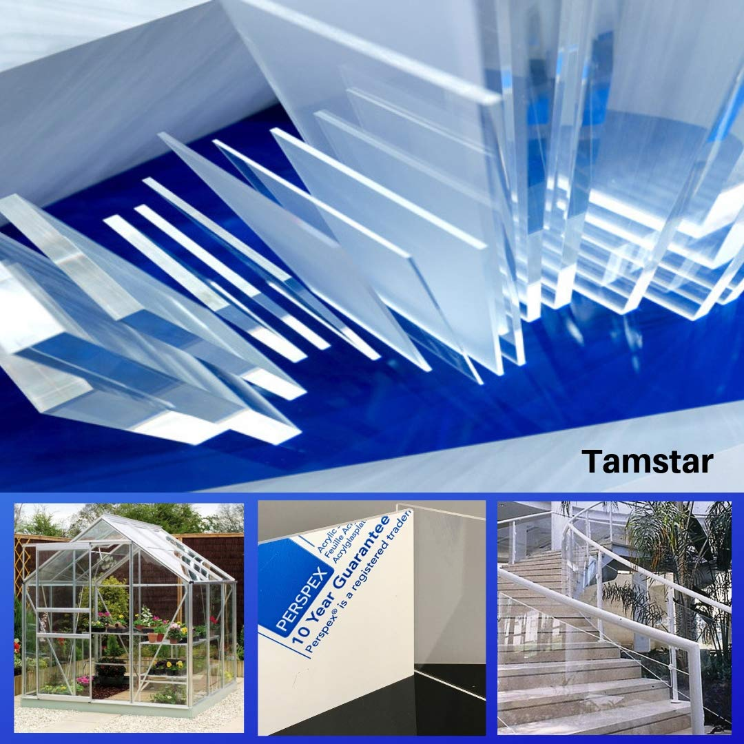 Tamstar 3mm Clear Perspex Acrylic Plastic Sheet Fabrication Shed Greenhouse  Panel Shop Display 610x610mm(2ftx2ft)