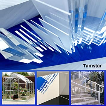Tamstar 3mm Clear Perspex Acrylic Plastic Sheet Fabrication Shed Greenhouse Panel Shop Display 1220x610mm 4ftx2ft