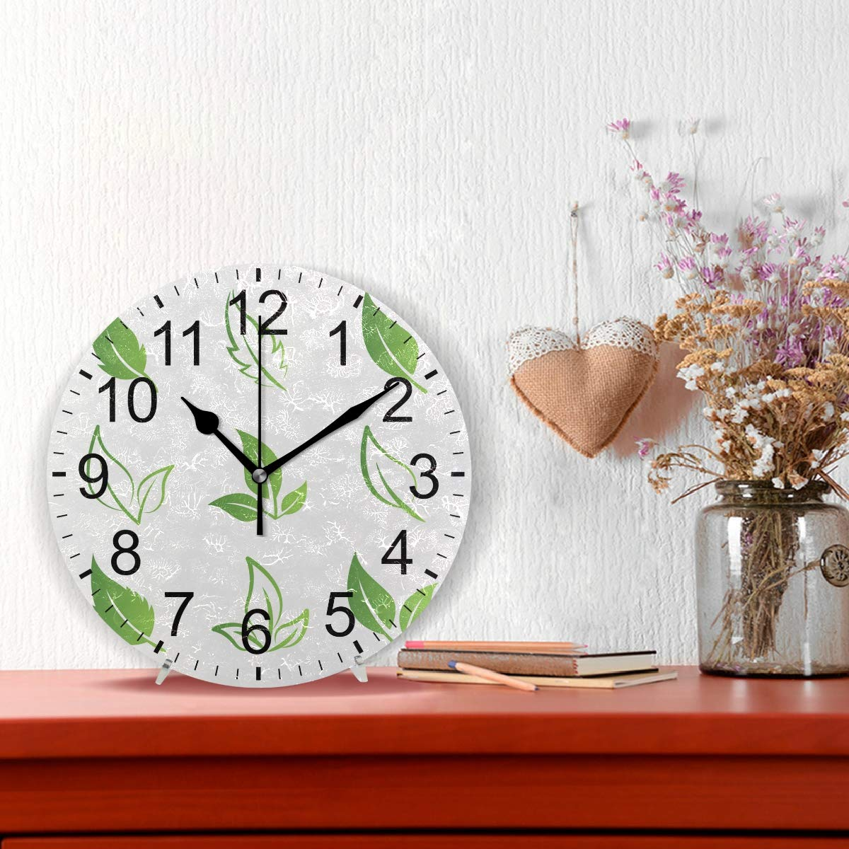 Atzucl Green Leaves Round Wall Clock Silent Non Ticking Quartz Final Schematic 400 Decorative For Room Home Kitchen
