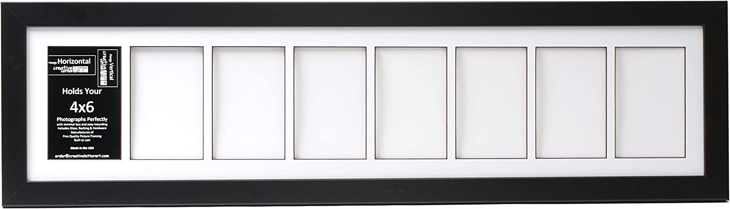 Creative Letter Art [8x34bk-w] 8 Opening Glass Face Black Picture Frame Holds 4x6 Media with White Collage Mat