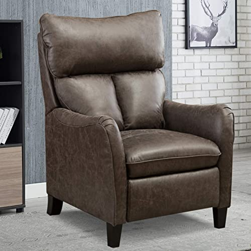 ANJ Push Back Recliner Chair, Microfiber Home Single Sofa for Living Room Smoky Grey