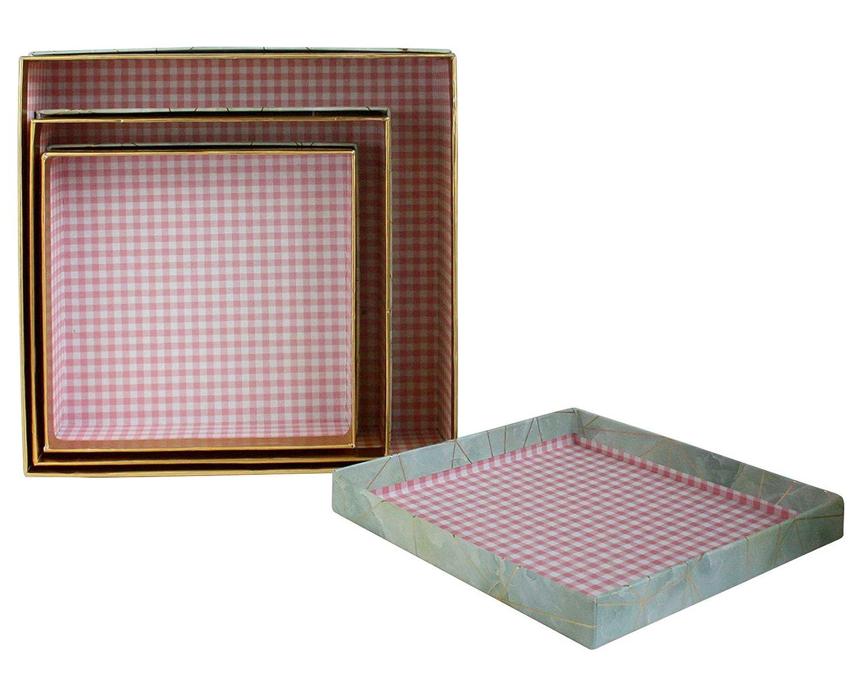 Effetto Marmo Blu//Grigio Con Linee di Origami Doro e Interni a Scacchi Rosa Emartbuy Set di 3 Confezione Regalo di Presentazione di Lusso Rigida Quadrata