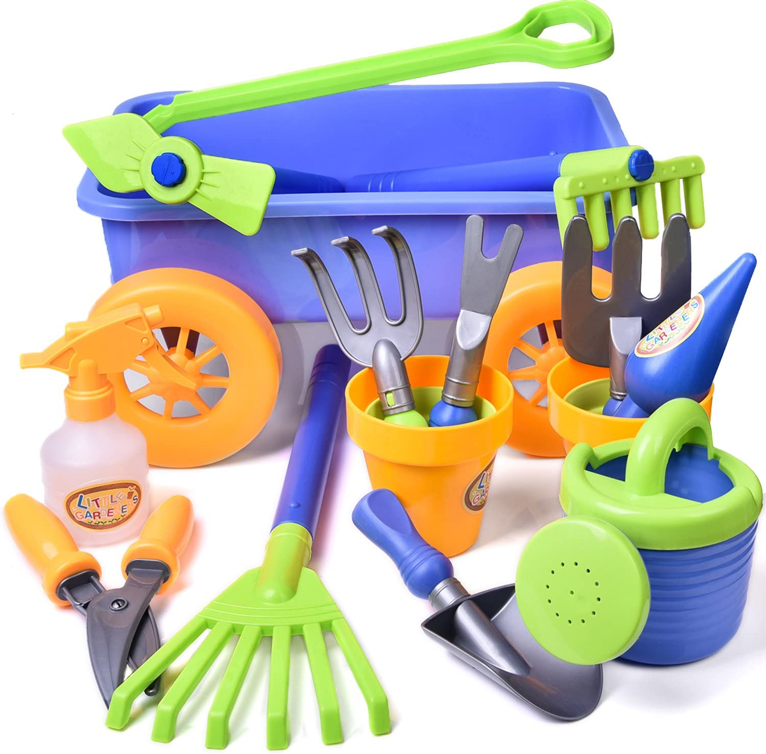Kid's Garden Tool Toys Set, Beach Sand Toy, Kids Outdoor Toys, Gardening Backyard Tool Set Wagon Other Garden Tools- 16 PCs