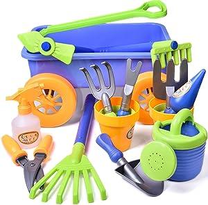 Kid's Garden Tool Toys Set, Beach Sand Toy, Kids Outdoor Toys, Gardening Backyard Tool Set Wagon Other Garden Tools- 16 PCs