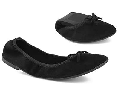 Greatonu Ladies Elastic Foldable Portable Pumps Bow Tie Ballet Ballerina Flats Dolly Shoes by Greatonu