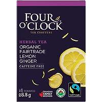Four O'Clock Organic Fairtrade Herbal Tea Lemon Ginger, Non-GMO, Kosher, Gluten-Free, 16 Count, 28,8g
