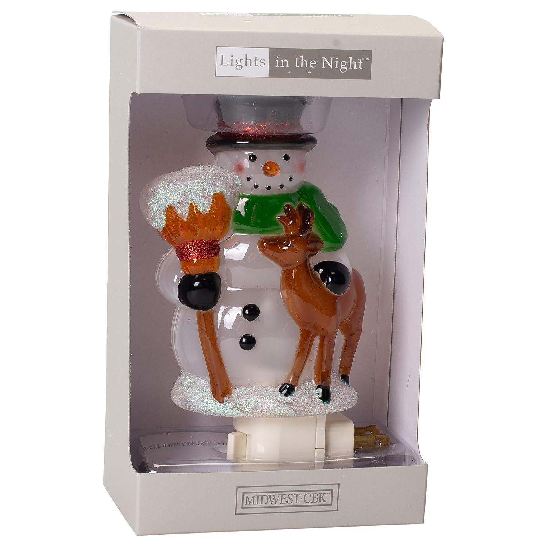 Midwest-CBK Snowman Deer Fawn Broom Natural 6 x 3 Durable Acrylic Christmas Night Light