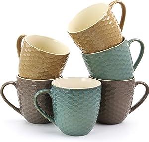 Elama Honeysuckle Geometric Embossed Stoneware Honeycomb Pattern Coffee and Tea Mug Gift Set, 6 Piece, Assorted Purple, Turquoise, Taupe