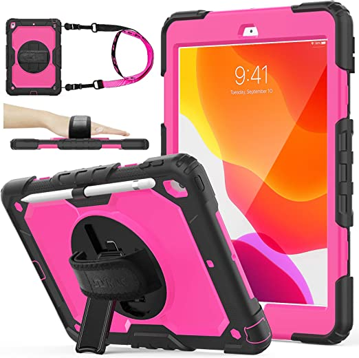 SEYMAC stock Case for iPad 8th/7th Generation, iPad 10.2 2020/2019 Case, [Full-Body] Case with 360 Degrees Rotating Stand [Pencil Holder][Screen Protector] Hand Strap for iPad 8th/7th (Rose+Black)