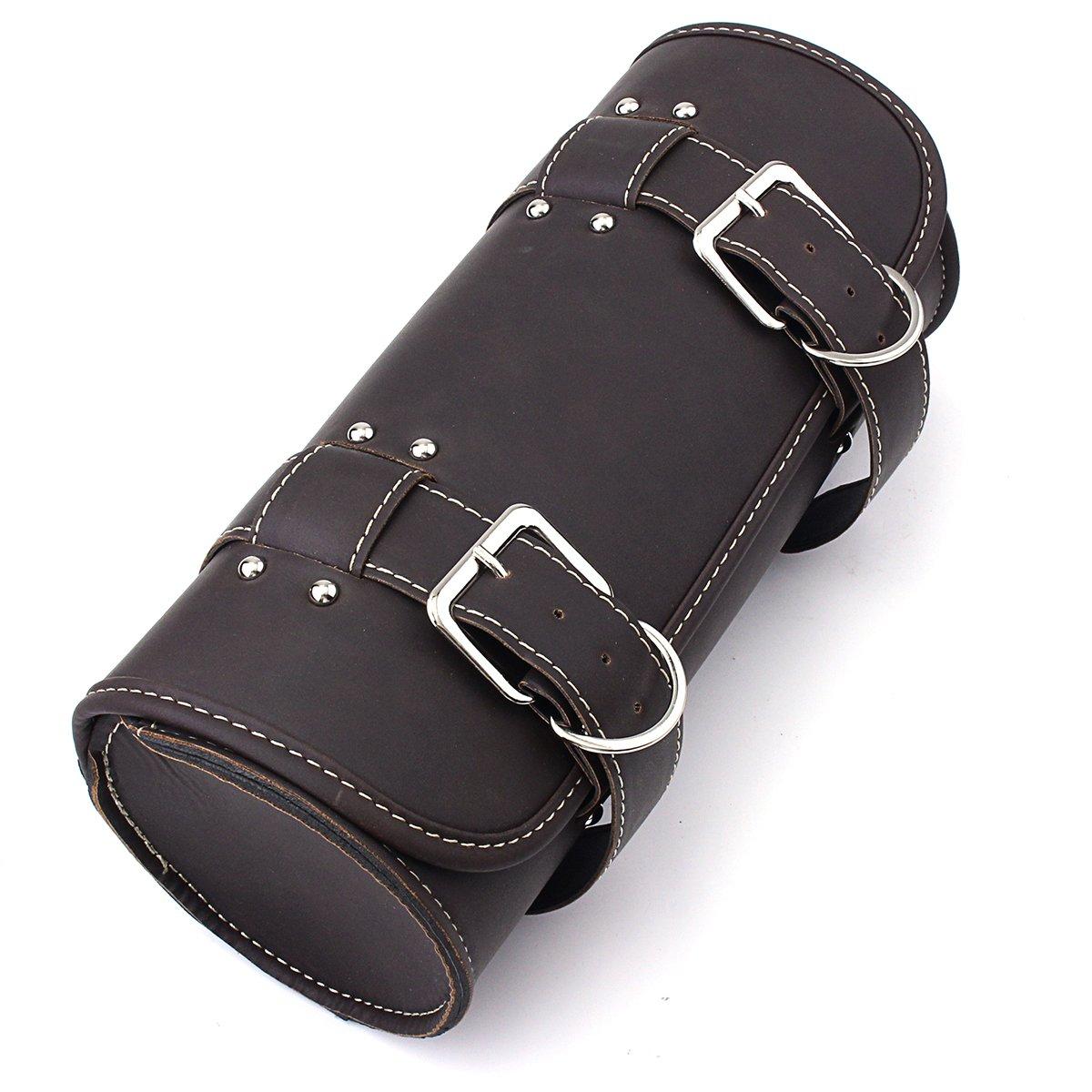 Black Baoblaze 2X Universal Motorcycle Leather Side Saddle Bag Storage Pouch for Harley Yamaha Honda