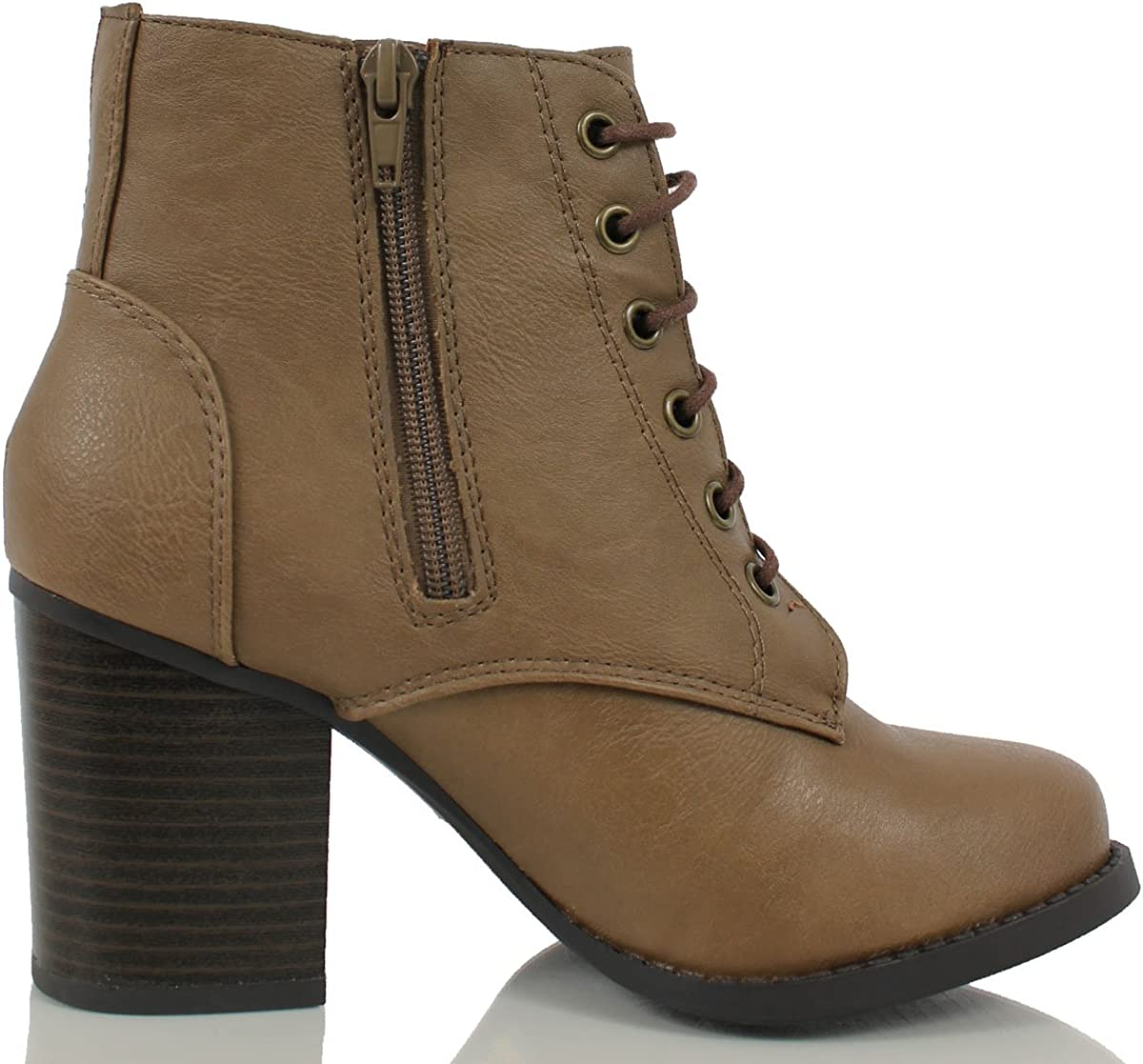 Soda Women/'s Lurk Taupe Faux Leather Lace Up Stacked Chunky Heel Ankle Booties