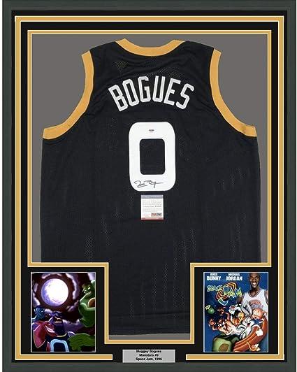 Autographed//Signed Muggsy Bogues Space Jam Monstars Black Basketball Jersey PSA//DNA COA