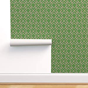 Spoonflower Pre-Pasted Removable Wallpaper, Chinoiserie Preppy Decor Bamboo Lattice Garden Trellis Print, Water-Activated Wallpaper, 24in x 36in Roll