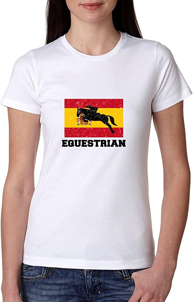 España olímpico – Equestrian diseño de silueta de bandera – Camiseta de algodón de las mujeres: Amazon.es: Ropa y accesorios