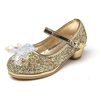 d57fbfc1d8b2 Chiximaxu Maxu Girl s Cosplay Princess Shoes Low Heel with Crystal Flower  Gold Little Kid Size 1