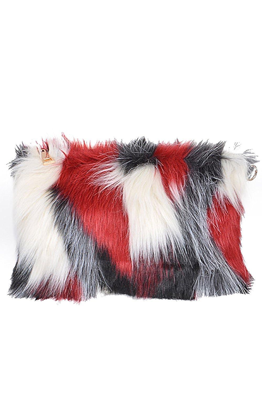 4c1c1117d5 Womens Faux Fur Clutch Bag Zipper Furry Purse Shoulder Handbag PPC5720