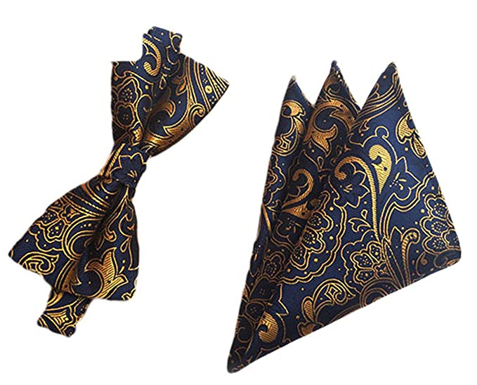 ac6cf4d63975 Amazon.com: MENDENG Men's Gold Blue Paisley Silk Bow Ties Business Wedding Hanky  Tie Sets: Clothing