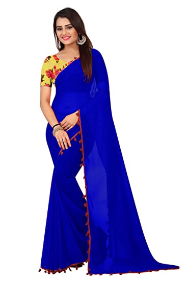 6a227f19d43e1a SilverStar Women's Blue Color Georgette Plain Saree With Silk Printed  Blouse Piece: Amazon.in: Clothing & Accessories