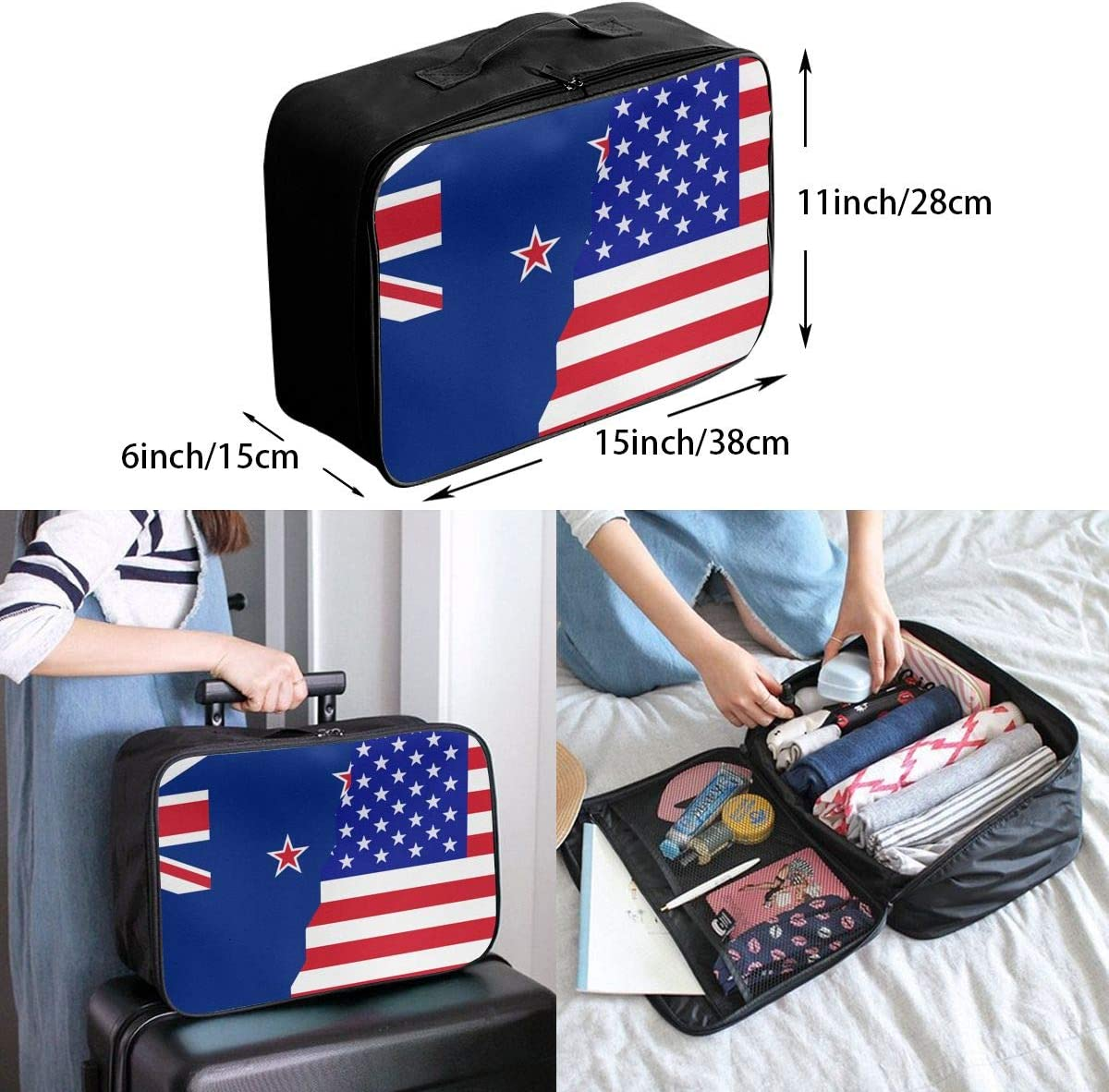 American New Zealand Flag Overnight Carry On Luggage Waterproof Fashion Travel Bag Lightweight Suitcases