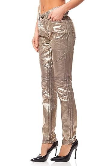 167346aedf2a Röhrenjeans Hose Damen Used Look Slim Fit Gold B. C. by heine,  Größenauswahl 38