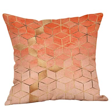 JiaMeng Funda Cojin Almohada, Fundas de Almohadas geométricas Impresas geométricas del cojín del Lino del algodón del sofá Decorativas para el hogar: ...