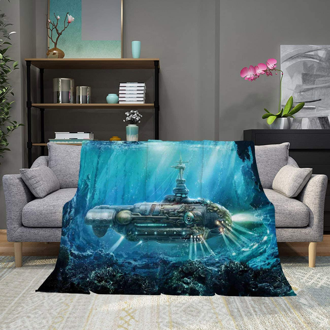 RLDRESS All-Season Color Super Soft Throw Blanket Warm Blanket Science Fiction Submarine Underwater War Futuristic Silver Aqua Cozy Blanket for Living room/bedroom-50x60in