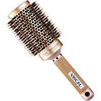 VISCAL Nano Thermal Ceramic & Ionic Round Barrel Hair Brush Large Round Hair Brush with Boar Bristle 3.3 inch, for Hair Drying, Styling, Curling, Adding Hair Volume and Shine, Gold Brown.