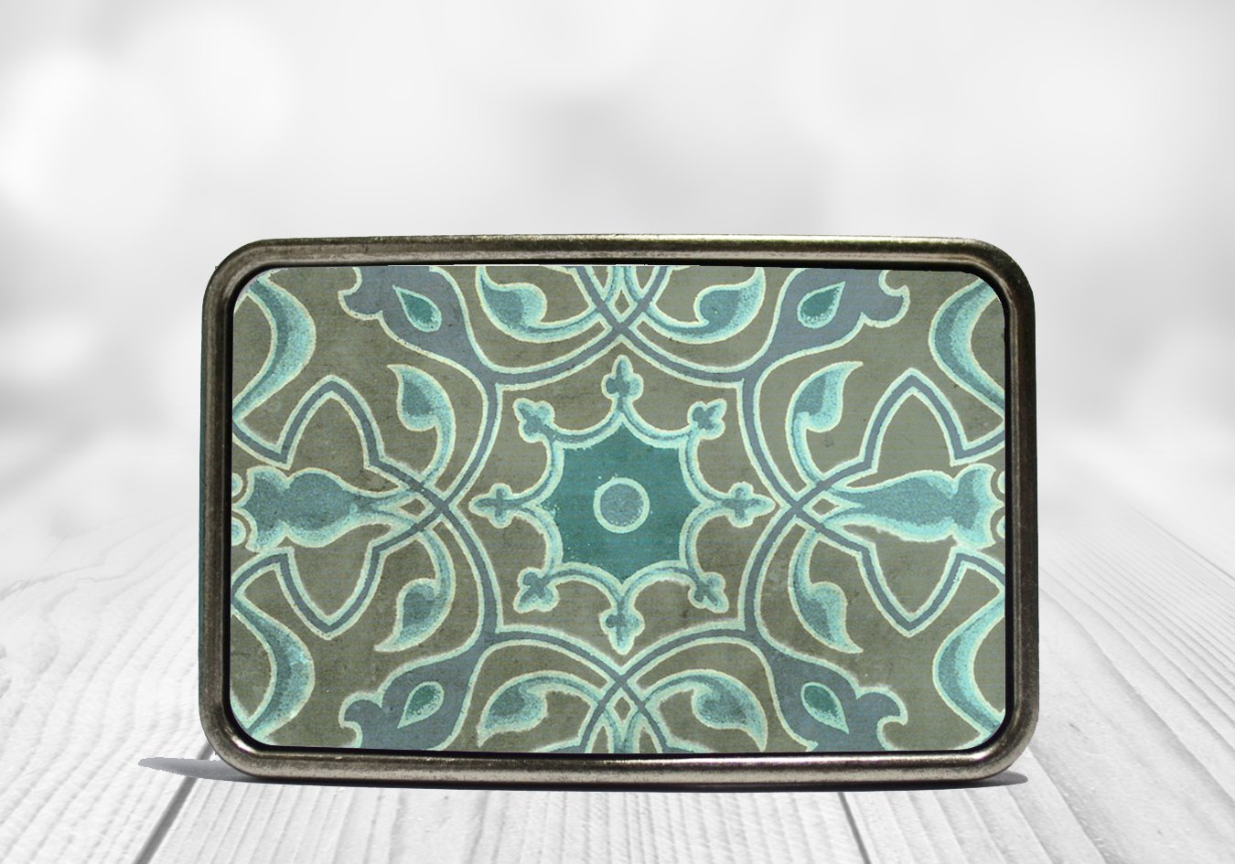 Turquoise Scroll Belt Buckle