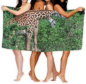 """OHMYCOLOR Beach Towels for Women Men Blanket African Giraffe Taste Tree Leaves Bath Sheets Luxurious 100% Polyester Outdoors Large Towel Cover for Yoga Mat Tent Floor 31.5"""" X 51.2"""""""