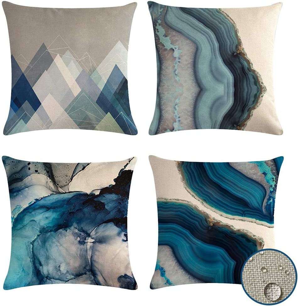Decorative Cushion Covers Waterproof 45 X 45 Pack Of 4 Outdoor Indoor Pillow Covers Geometric Blue Pillow Cases Teal For Bench Sofa Living Room Decoration Ocean Amazon Co Uk Kitchen Home