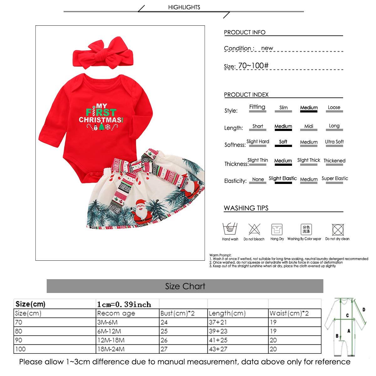 puseky Baby Girls My First Christmas Outfit Long Sleeve Romper Tutu Skirt Dress Headband Set