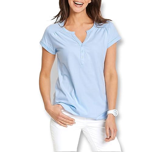 SUNNOW cuello redondo sólido de las mujeres calientes con el botón suelto ajuste camiseta casual