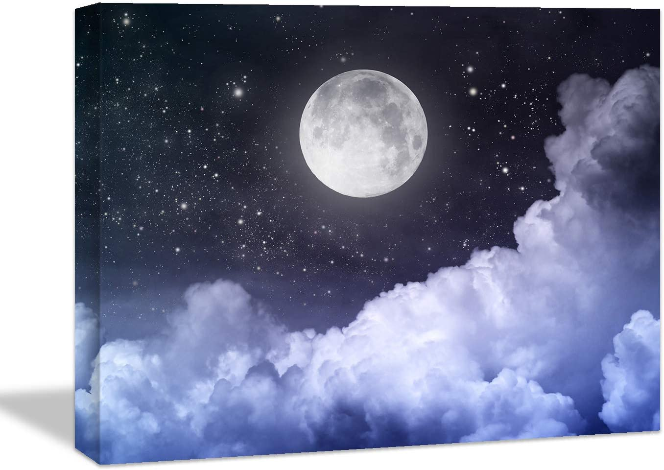 Looife Ocean Theme Canvas Wall Art, 48X36 Inch Full Moon with Clounds Under Purple Night Picture Prints Wall Decor, Nature Scenery Painting Wall Deco Ready to Hang