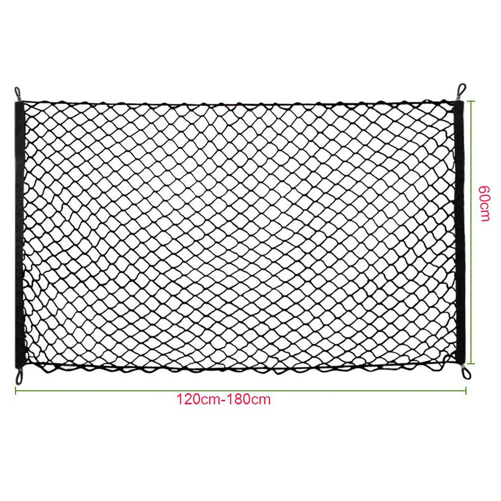 High Elastic Car Trunk Storage Mesh with 4 Hooks for SUV Truck Bed Pickup Pet Barrier Seat,Black Gobesty Car Net