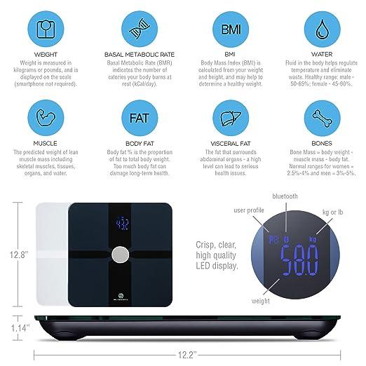 Amazon.com: SilverOnyx - Báscula de grasa corporal con iOS y ...