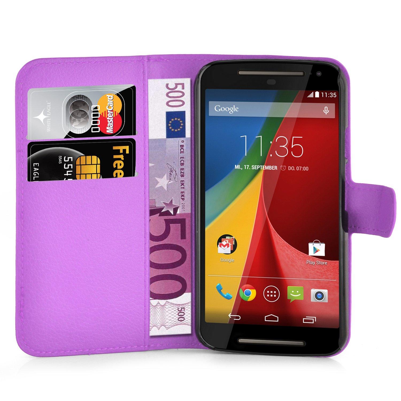 Cadorabo Carcasa para Motorola Moto G2 Funda en Manganeso púrpura Funda con Tarjetero y función Atril Case Cover Carcasa Funda Book Style Manganeso de ...