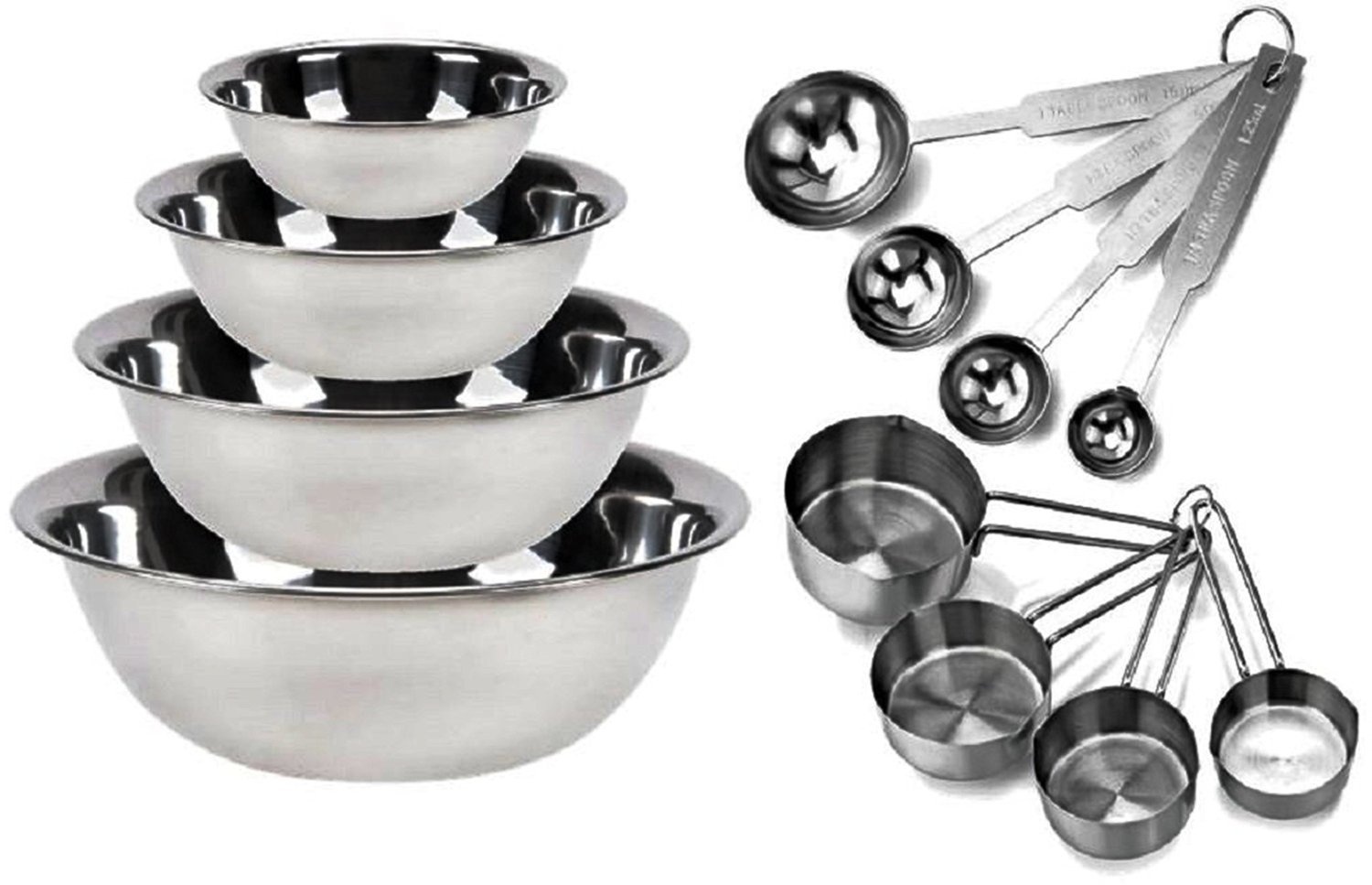 Kitchen Mission Stainless Steel Mixing Bowls 1.5,3,4, and 5 Quart. Plus Measuring Cup and Spoon Sets, Set of 6 (Complete Set) MBSO6