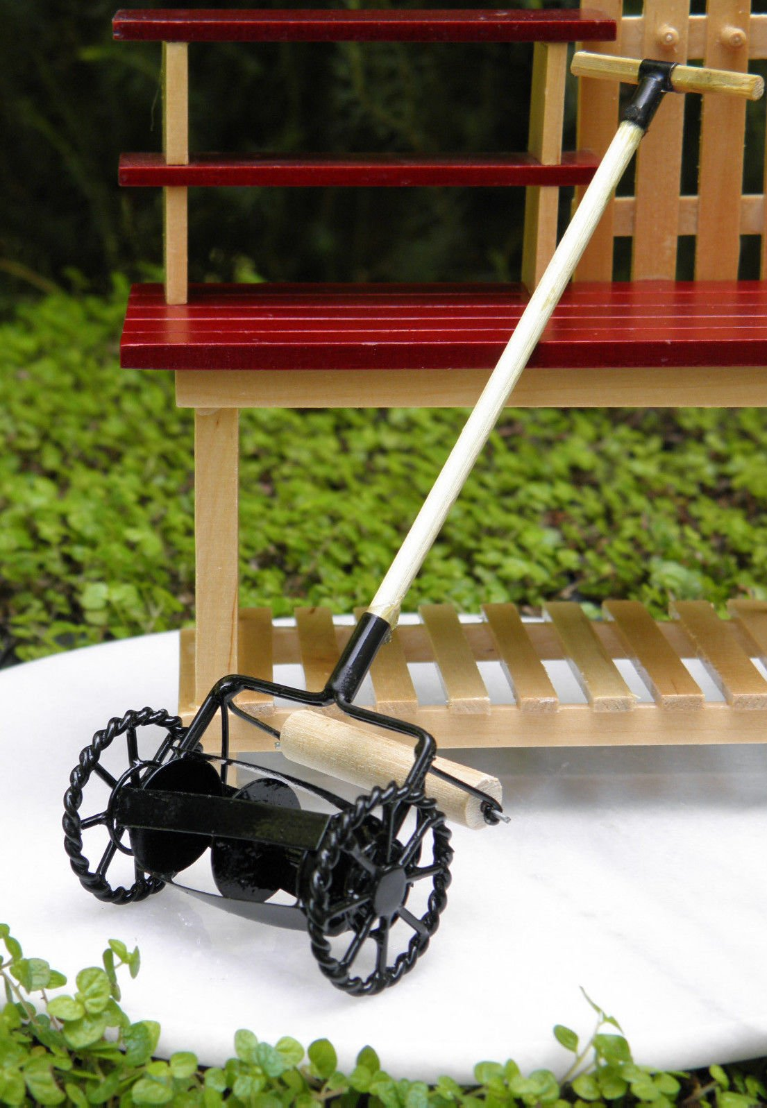 Miniature Dollhouse Fairy Garden Accessories Old-Fashioned Black Lawnmower